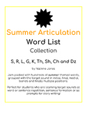 Articulation Word Lists - S, R, L, TH, K, G, SH, CH, DZ - SUMMER THEME