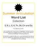 Articulation Word Lists - S, R, L, TH, K, G, SH, CH, DZ - SUMMER THEME