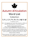 Articulation Word Lists - S, R, L, TH, K, G, SH, CH, DZ, Zh - AUTUMN Phonics