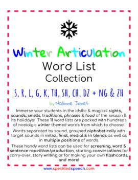 Articulation Word Lists - S, R, L, TH, K, G, SH, CH, TH - CHRISTMAS THEME