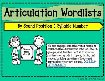 Articulation Word Lists by Sound Position and Syllable Number