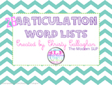26 Articulation Word Lists