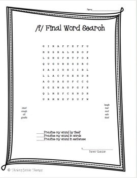 Articulation Word Search