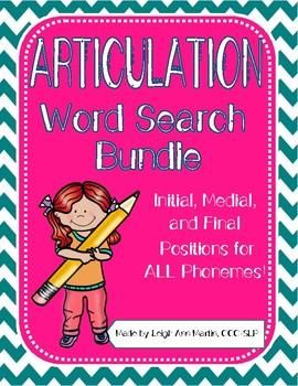 Articulation Word Search BIG Bundle- All Speech Sounds!