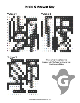 Articulation Word Search - G Sound