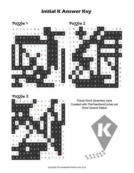 Articulation Word Search - K Sound