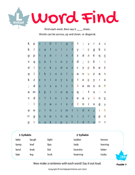 Articulation Word Search - L & L Blend Sounds