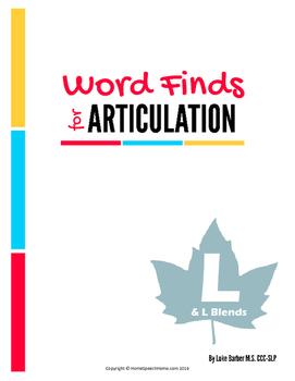 Articulation Word Search - L & L Blend Sounds