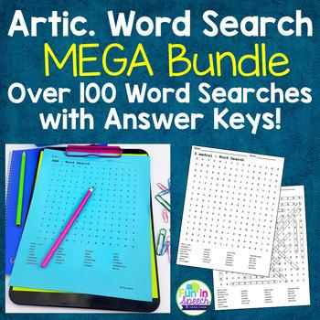 Articulation Word Search BUNDLE - Over 100 Print & Go Articulation Worksheets