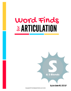 Articulation Word Search - S & S Blend Sounds