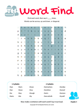 Articulation Word Search - Voiced TH Sound