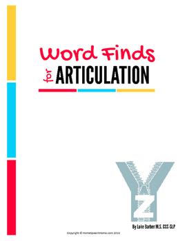 Articulation Word Search - Z Sound