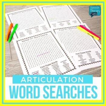 No Prep Articulation Word Searches (14 sounds)