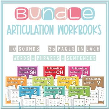 Articulation Workbooks BUNDLE (F-V-K-G-L-R-S-CH-SH-TH)