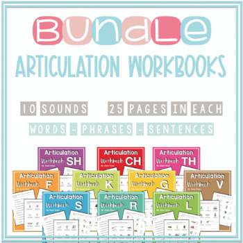 Articulation Workbooks BUNDLE F V K G L R S CH SH TH