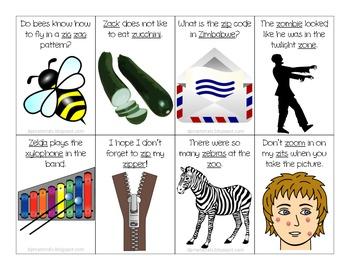 "Articulation: ""Z"" in Sentences Flash Cards"