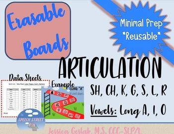 Articulation SH, CH, R, S, L, G, K, Long A, I, O Dry Erase Boards