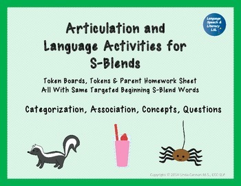 Articulation and Language Activities for S-Blends, Teletherapy