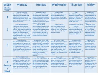 Articulation and Oral Motor Homework Calendars