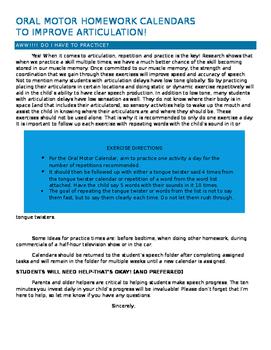 Articulation and Oral Motor Homework Calendars Letter to Parents