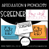 Articulation and Phonology Screener Screening Tool Low Ink Easy to Print