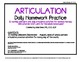 Articulation daily Homework practice calendars speech therapy - No Dates!