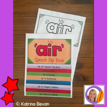 Articulation flip book- 'air' sound for speech and language therapy