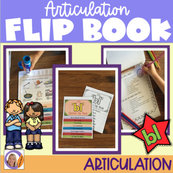 Articulation flip book- 'bl' blend for speech and language therapy
