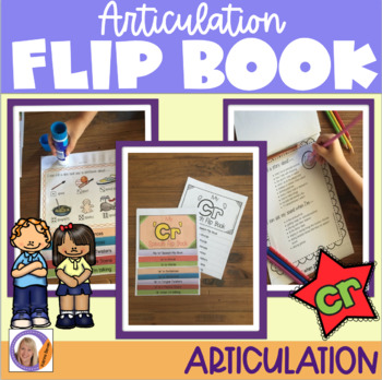 Articulation flip book- 'cr' blend for speech and language therapy