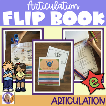 Articulation flip book- 'e' vowel sound for speech and language therapy