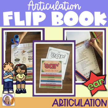 Articulation flip book- 'ear' sound for speech and language therapy