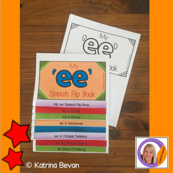 Articulation flip book- 'ee' vowel sound for speech and language therapy