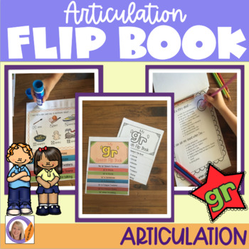 Articulation flip book- 'gr' blend for speech and language therapy