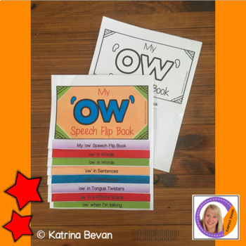 Articulation flip book- 'ow' vowel sound for speech and language therapy