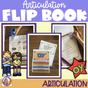Articulation flip book- 'oy' vowel sound for speech and language therapy