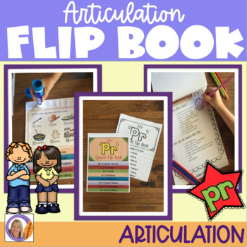 Articulation flip book- 'pr' blend for speech and language therapy