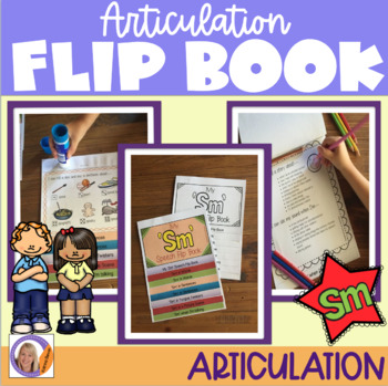 Articulation flip book- 'sm' blend for speech and language therapy