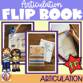 Articulation flip book- 'tr' blend for speech and language therapy