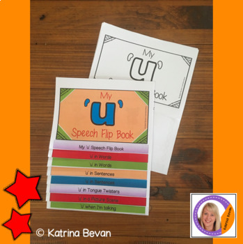 Articulation flip book- 'u' vowel sound for speech and language therapy