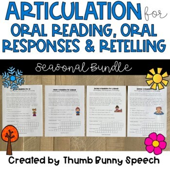 Articulation for Oral Reading, Responses & Retelling BUNDLE