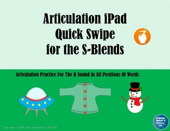 No Print Articulation iPad Quick Swipe for S-Blends,  No Print - Teletherapy