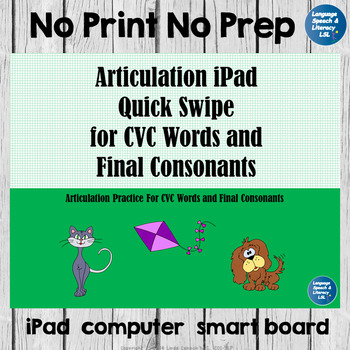 Articulation iPad Quick Swipe for the  CVC Words