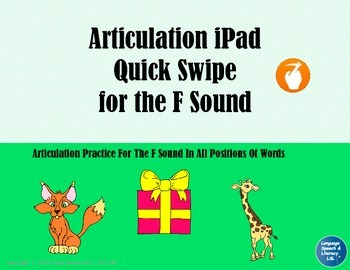 Articulation iPad Quick Swipe for the F Sound - No Print, Teletherapy