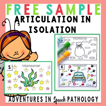 photo about Articulation Printable Worksheets named Articulation within Isolation Worksheets: FREEBIE pattern