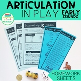 Articulation in Play EARLY SOUNDS Homework Sheets