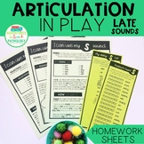 Articulation in Play LATE SOUNDS Homework Sheets