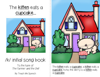 Articulation /k/ Song Book- Initial, Medial, and Final /k/