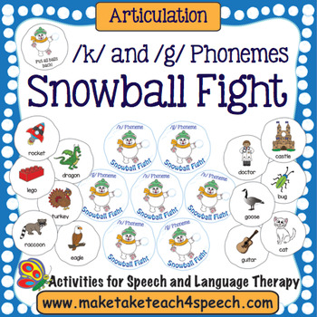 Articulation -  /k/ and /g/ Phonemes Snowball Fight