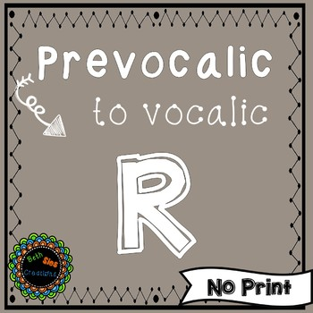 Articulation of Prevocalic to Vocalic R, A Speech Therapy No Print