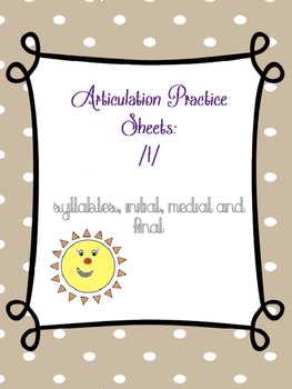 Articulation of /l/ coloring sheets (Syllables, Initial, Medial & Final)